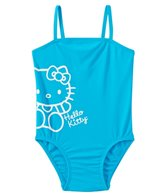 Hello Kitty Girls' Aqua Solid Logo One Piece (4yrs-6X)
