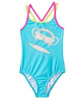 Paul Frank Girls' Neon Julius Silver Glitter Monkey One Piece (2T-4T)