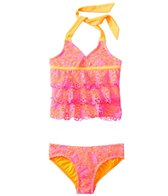 Kensie Girl Ibiza Crochet Ruffle Tankini Two Piece Set (4yrs-6X)