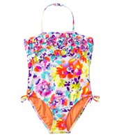 Kensie Girl Grenadienes Tropical Ruffle Halter One Piece (7yrs-14yrs)