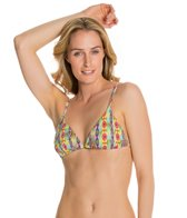 PilyQ Sunbeam Embroidered Tri Halter Bikini Top