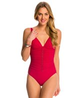 Profile by Gottex Waterfall Solid V-Neck One Piece Swimsuit (D Cup)