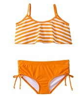 Sunshine Zone Girls' Orange Stripe Flutter Two Piece Set (7yrs-16yrs)
