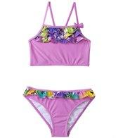 Sunshine Zone Girls' Rainbow Flower Flutter Two Piece Set (4yrs-6X)