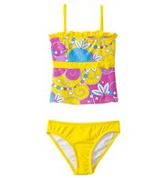 Sunshine Zone Girls' Flower Swirls Tankini Two Piece Set (4yrs-6X)