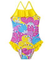 Sunshine Zone Girls' Flower Swirls Ruffle One Piece (4yrs-6X)