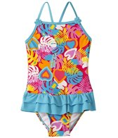 Sunshine Zone Girls' Tropical Love Ruffle One Piece (4yrs-6X)