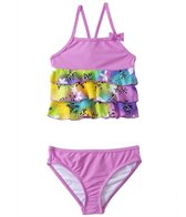 Sunshine Zone Girls' Rainbow Flower Ruffle Tankini Two Piece Set (2T-4T)
