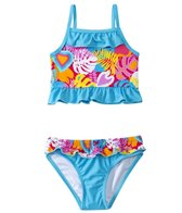 Sunshine Zone Girls' Tropical Love Ruffle Tankini Two Piece Set (2T-4T)