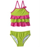 Sunshine Zone Girls' Solid Color Block Ruffle Tankini Two Piece (6mos-18mos)