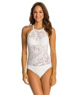 Robin Piccone Hana Tropical Halter High Neck One Piece Swimsuit
