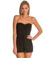 Robin Piccone Ava Signature Essentials Bandeau Skirted One Piece Swimsuit