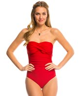 Helen Jon Del Mar Solid Twist Bandeau One Piece Swimsuit