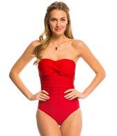 Helen Jon Del Mar Solid Twist Bandeau One Piece Swimsuit