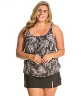 Shape Solver Plus Size Paisley Lace Underwire Blouson Top