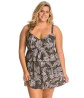 Shape Solver Plus Size Paisley Lace Triple Tier Swimdress