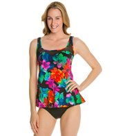 Caribbean Joe Sweet Love Sweetheart Mesh Peplum Tankini Top