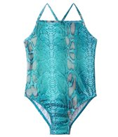 405 South Girls' Blue Shimmer Snake Tank One Piece (7yrs-16yrs)
