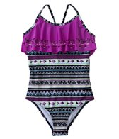 Jantzen Girls' Around The World Orchid Flutter One Piece (7yrs-16yrs)