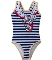 Jantzen Girls' Set Sail Nautical Scarf & Charm One Piece (2T-4T)