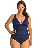 Tommy Bahama Plus Size Solid V Neck Tankini Top