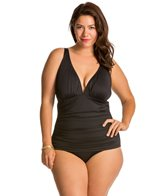Tommy Bahama Plus Size Solid V Neck One Piece Swimsuit