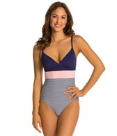 Vince Camuto Lido Stripe V Neck One Piece Swimsuit