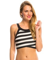 DKNY Iconic Stripes High Neck Crop Bikini Top