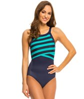 DKNY Iconic Stripes High Neck One Piece Swimsuit