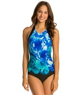 Carmen Marc Valvo The Blooms High Neck Cross Back One Piece Swimsuit