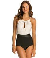 Carmen Marc Valvo Classic Dimension High Neck Belted One Piece Swimsuit