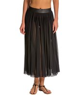Carmen Marc Valvo Classic Dimension Chiffon Pleated Maxi Skirt