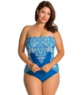 Carmen Marc Valvo Plus Size Coast Garden Beaded Bandeau One Piece Swimsuit