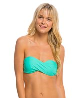 Hot Water Solid Twist Bandeau Bikini Top