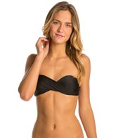 Hot Water Solid Twist Bandeau Bikini Top