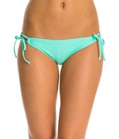 Hot Water Solid Keyhole Shirred Bikini Bottom