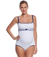 Pez D'or Maternity Rimini Solid Textured One Piece With Conrast Binding
