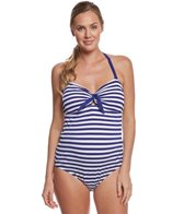 Pez D'or Maternity Rimini Textured Marine Striped One Piece