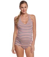 Pez D'or Maternity Mykonos Halter Tankini Striped Two Piece