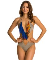 Indah Peponi Cut Out Silk Ruffle One Piece Swimsuit
