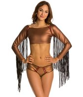 Indah Siri Neoprene Long Sleeve Fringe Crop Surf Top