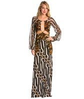 Indah Celia Printed Blouson Open Back Maxi Cover Up Dress