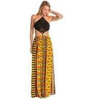 Indah Revel Printed Crochet Diamond Halter Maxi Cover Up Dress