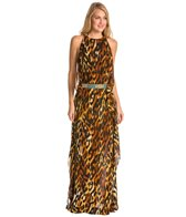 Indah Twiga Printed High Slit Belted Maxi Cover Up Dress