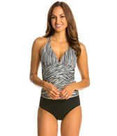 Eco Swim Sketch Stripe Spliced Shirred Tankini Top