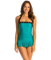Eco Swim Give Me A Ring Grommet Shirred Halter Swimdress