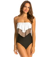 Eco Swim Glammed Up Layered Ruffle Bandeau One Piece Swimsuit