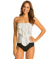 Eco Swim Speckled Dot Layered Ruffle Bandeau Tankini Top