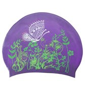 Sporti Butterfly Meadow Long Hair Silicone Swim Cap