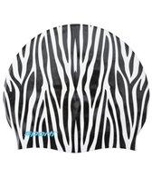 Sporti Zebra Print Silicone Swim Cap